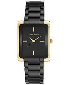 Anne Klein Women's Black Ceramic Bracelet Watch 28x35mm AK-2952BKGB
