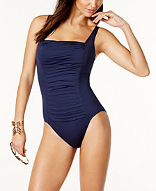Calvin Klein Solid Pleated One-Piece Swimsuit,Created for Macy's Style