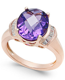 Amethyst (4-1/4 ct. t.w.) and White Topaz (1/4 ct. t.w.) in 14k Rose Gold-Plated Sterling Silver