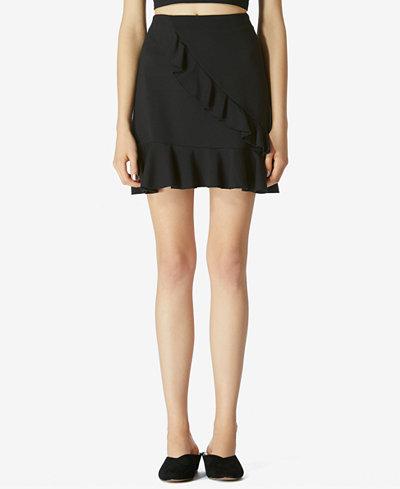Avec Les Filles Ruffle-Front Mini Skirt