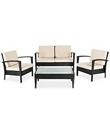 Karrin Outdoor 4-Pc. Seating Set (1 Loveseat, 2 Chairs & 1 Coffee Table), Quick Ship