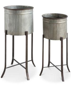 Set of 2 Iron Planters 4616533