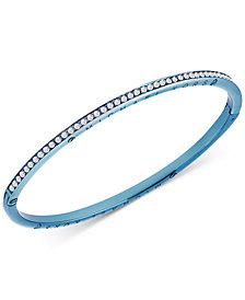 Michael Kors Blue-Tone Crystal Skinny Hinged Bangle Bracelet, Created for Macy's