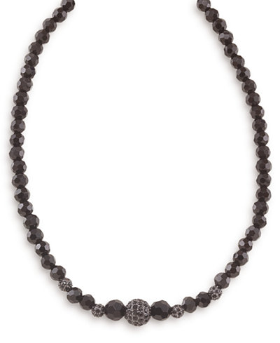 Carolee Necklace, Graduated Jet and Crystal Fireball