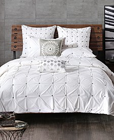 Masie Cotton Percale Embroidered Ruched King Duvet Mini Set