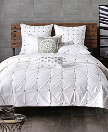INK+IVY Masie Cotton Percale Embroidered Ruched King Duvet Mini Set