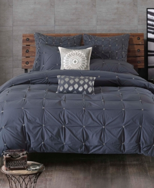 InkIvy Masie Cotton Percale Embroidered Ruched FullQueen Duvet Mini Set Bedding