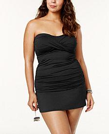 Anne Cole Plus Size Twist-Front Tankini & Swim Skirt