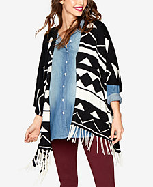 Ella Moss Maternity Open-Front Fringed Poncho