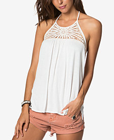O'Neill Juniors' Palla Crochet-Yoke Halter Top