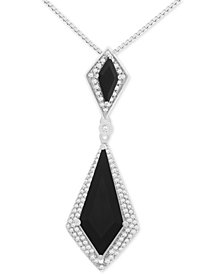 Onyx (6 x 3mm, 20 x 8mm) and Diamond (1/10 ct. t.w.) Pendant Necklace in Sterling Silver