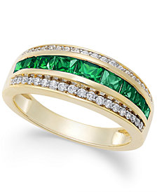 Emerald (1ct. t.w.) & Diamond (1/6 ct. t.w.) Ring in 14k Gold (Also Sapphire & Ruby)