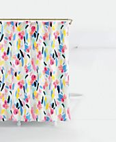 kate spade new york Paintball Cotton Floral-Print Shower Curtain