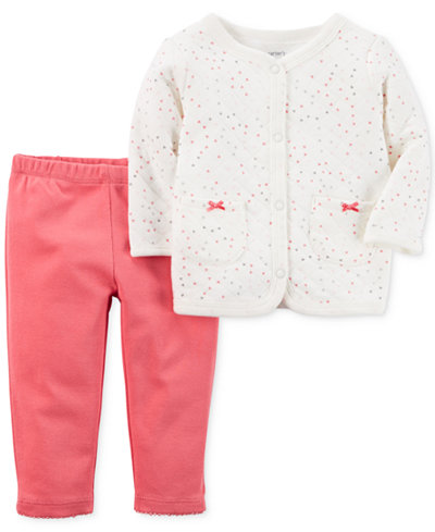 Carter's 2-Pc. Quilted Cardigan & Pants Set, Baby Girls