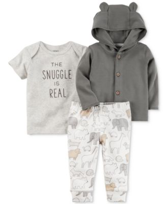 Image of Carter's 3-Pc. Cotton Hoodie, Snuggle T-Shirt & Jogger Pants Set, Baby Boys & Girls (0-24 months)