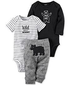 Carter's 3-Pc. Cotton Hug Me Bear Bodysuits & Pants Set, Baby Boys