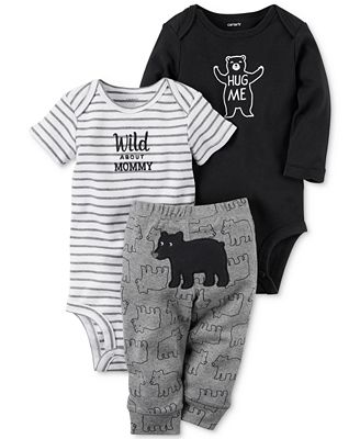 Carter's 3-Pc. Cotton Hug Me Bear Bodysuits & Pants Set, Baby Boys