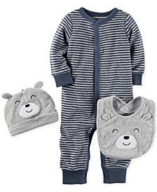 Carter's 3-Pc. Bear Hat, Bib & Striped Coverall Set, Baby Boys
