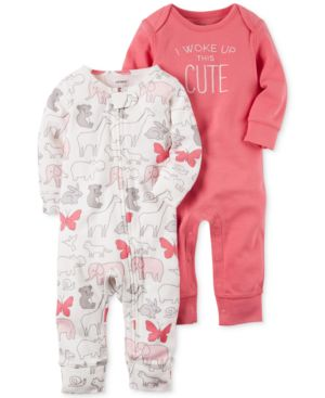 Carter's 2-Pk. I Woke Up This Cute Cotton Coverall Set, Baby Girls 4609765