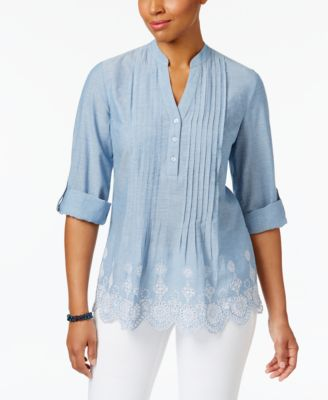 Image of Style & Co Cotton Pleated Eyelet-Hem Top, Only at Macy's