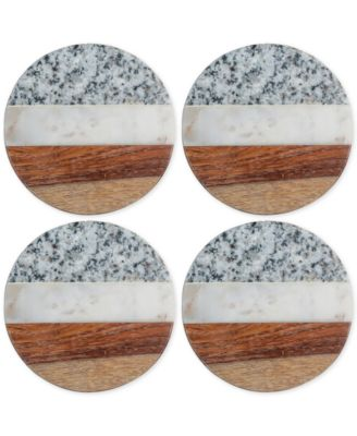 Granite, Marble and Wood Round Coasters, Set of 4