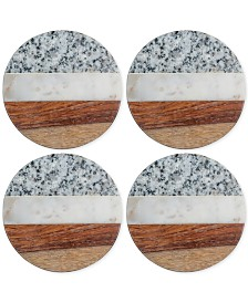 Thirstystone Granite, Marble and Wood Round Coasters, Set of 4
