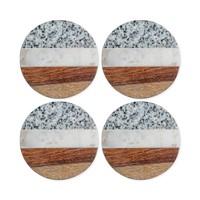 Set of 4 Thirstystone Granite, Marble and Wood Round Coasters