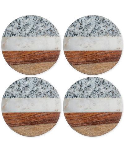 Thirstystone Granite, Marble and Wood Round Coasters, Set of 4