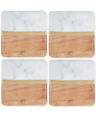 4-Pc. White Marble and Acacia Wood Coaster Set