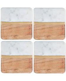 4-Pc. White Marble and Acacia Wood Coaster Set
