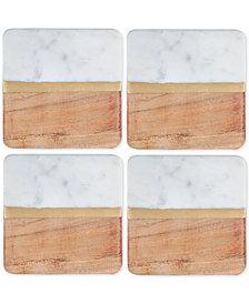 Thirstystone 4-Pc. White Marble and Acacia Wood Coaster Set