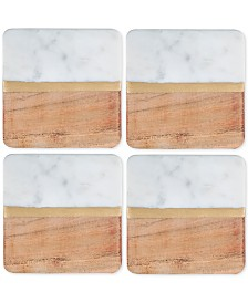 Thirstystone 4-Pc. White Marble and Acacia Wood Coaster Set