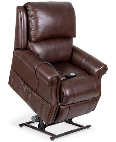 Raeghan Leather Power Lift Reclining Chair - Furniture - Macy\'s
