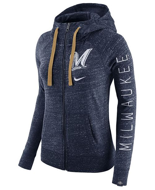 Nike Women's Milwaukee Brewers Gym Vintage Full-Zip Hooded Sweatshirt