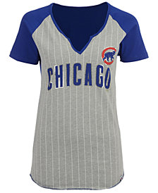 Majestic Women's Chicago Cubs From The Stretch Pinstripe T-Shirt