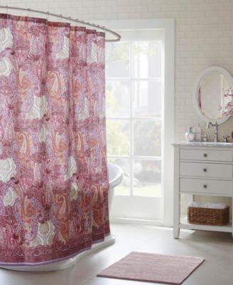 Echo Design Florentina Cotton Sateen Paisley Print Shower Curtain