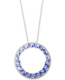 Tanzanite Royalé by EFFY® Tanzanite (2-7/8 and Diamond (1/6 ct. t.w.) Circle Pendant Necklace in 14k White Gold