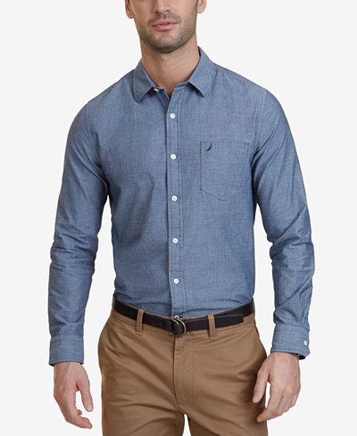 Nautica Men's Slim-Fit Chambray Long-Sleeve Shirt - Casual Button ...