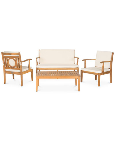Vallon Outdoor 4-Pc. Seating Set (1 Loveseat, 2 Chairs & 1 Coffee Table), Quick Ship