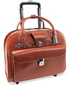 Edgebrook Leather Wheeled Laptop Briefcase