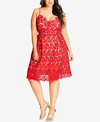 City Chic Plus Size Trendy So Fancy Lace Dress Macys Bridal And