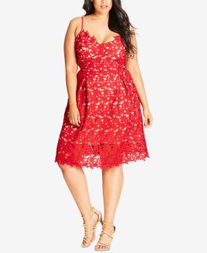 City Chic Plus Size Trendy So Fancy Lace Dress