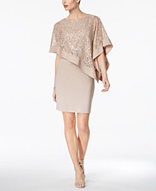 Sequined Cape Sheath Dress
