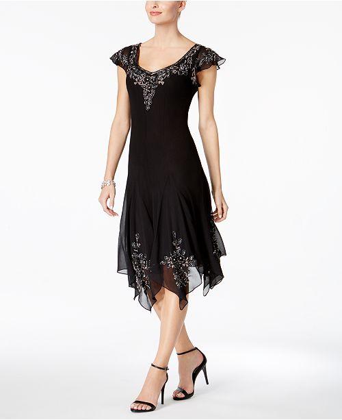 J Kara Beaded Handkerchief Hem Dress Dresses Women Macys