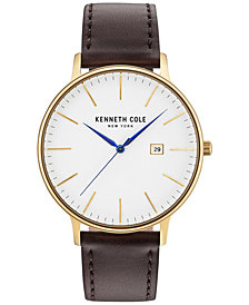 Kenneth Cole Men's Brown Leather Strap Watch 42mm KC15059005