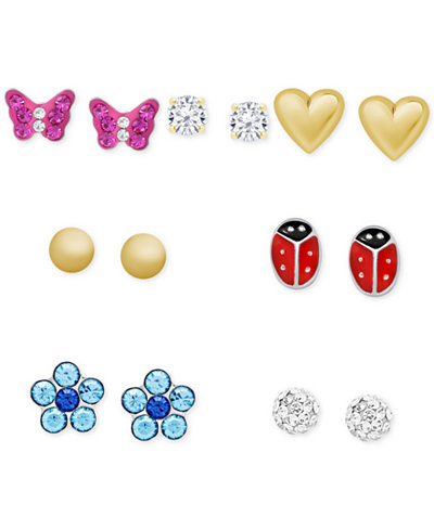 Children's 7-Pc. Set Colored Crystal Stud Earrings