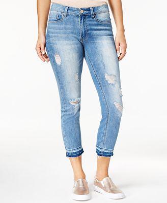 Indigo Rein Juniors' Ripped Raw Hem Skinny Jeans