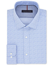 Tommy Hilfiger Men's Slim-Fit Non-Iron Cornflower Blue Floral-Print Cotton Dress Shirt