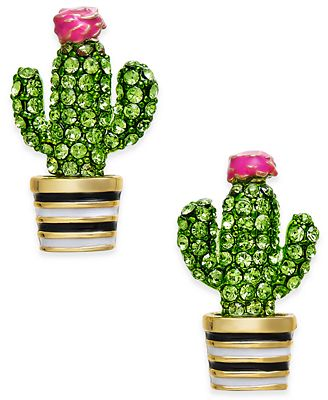 kate spade new york 14k Gold-Plated Green Pavé Cactus Stud Earrings