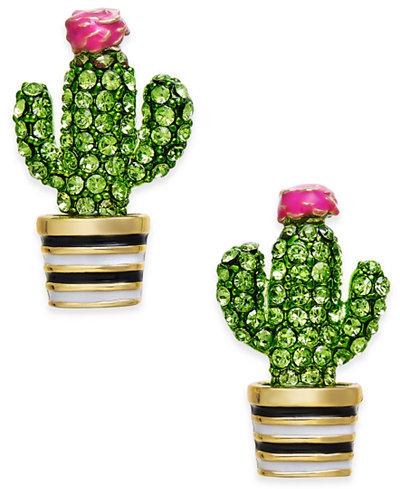 kate spade new york 14k Gold-Plated Green Pavé Cactus Stud Earrings